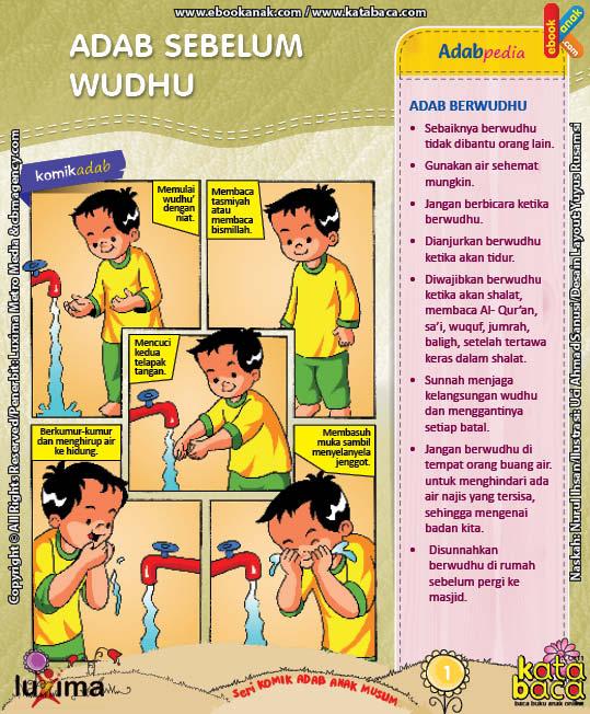 ebook seri komik adab anak muslim adab bersuci, adab sebelum wudhu
