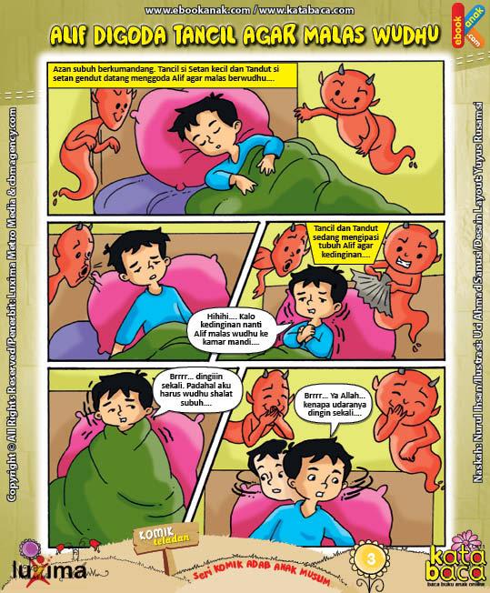 ebook seri komik adab anak muslim adab bersuci, alif digoda tancil agar malas wudhu