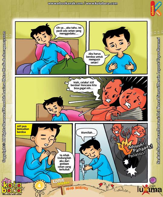 ebook seri komik adab anak muslim adab bersuci, alif digoda tancil agar malas wudhu2