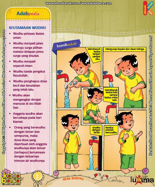 ebook seri komik adab anak muslim adab bersuci, keutamaan wudhu