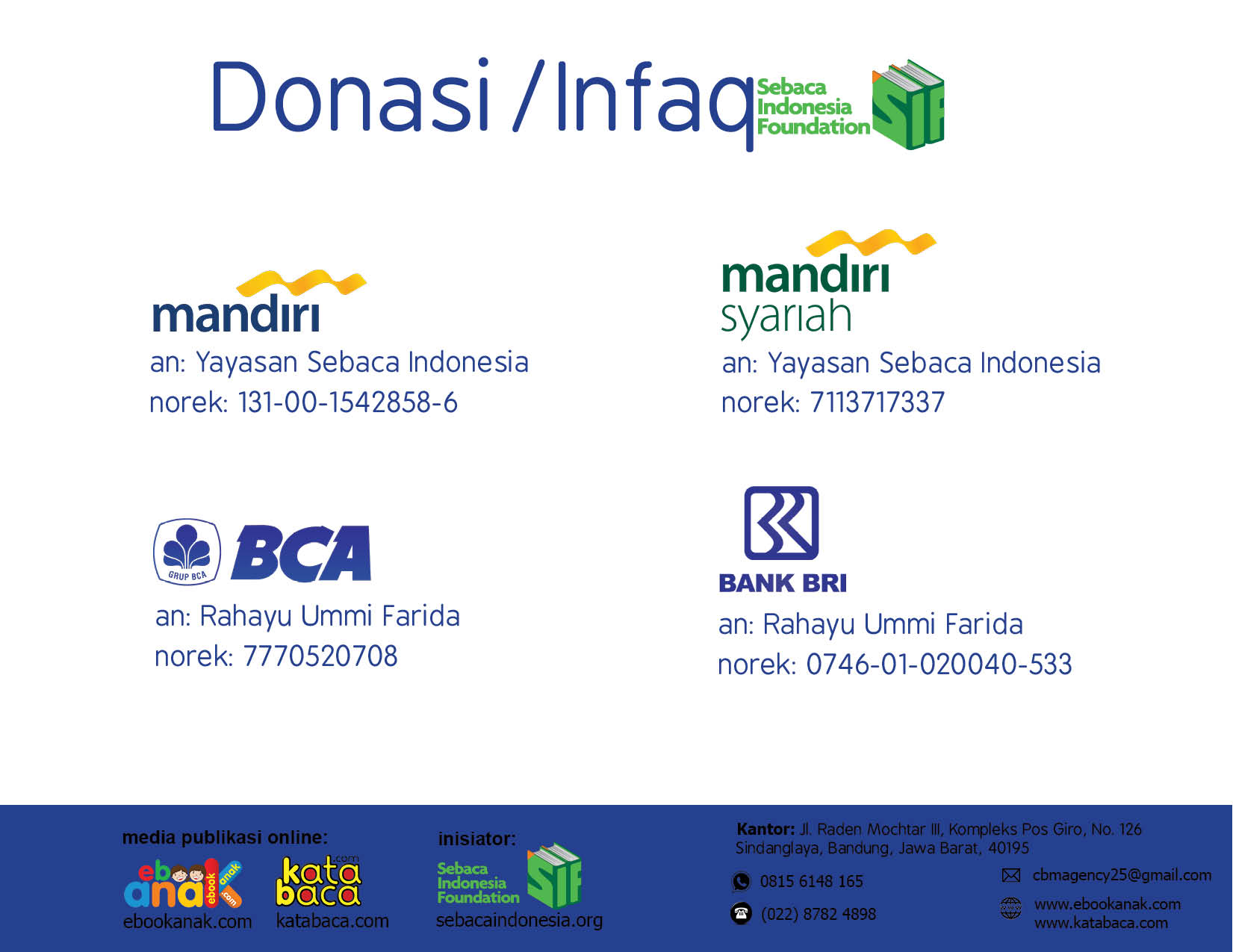 nomor rekening donasi yayasan sebaca indonesia