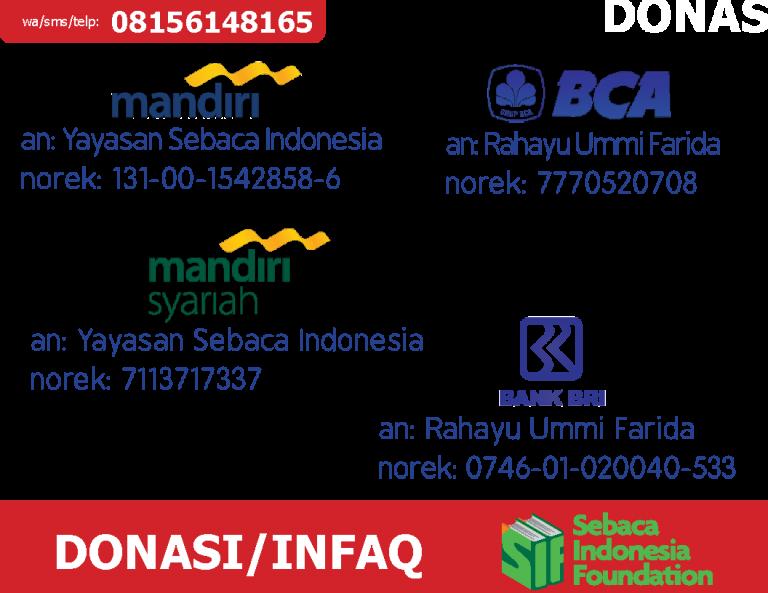 nomor rekening donasi infak yayasan sebaca indonesia