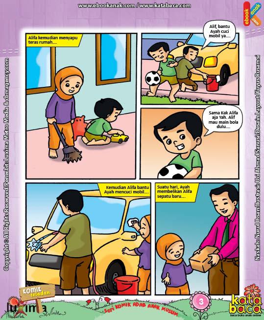 Download Ebook Seri Komik Adab Anak Muslim Adab pada Keluarga dan Orang Lain7