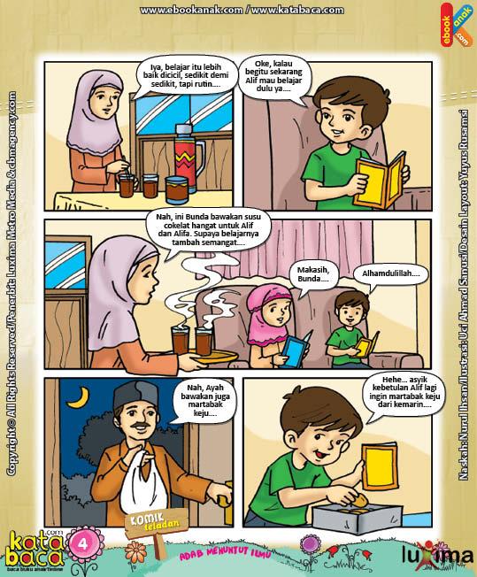 Download Eboook Komik 4, Seri Komik Adab Anak Muslim, Adab Menuntut Ilmu4