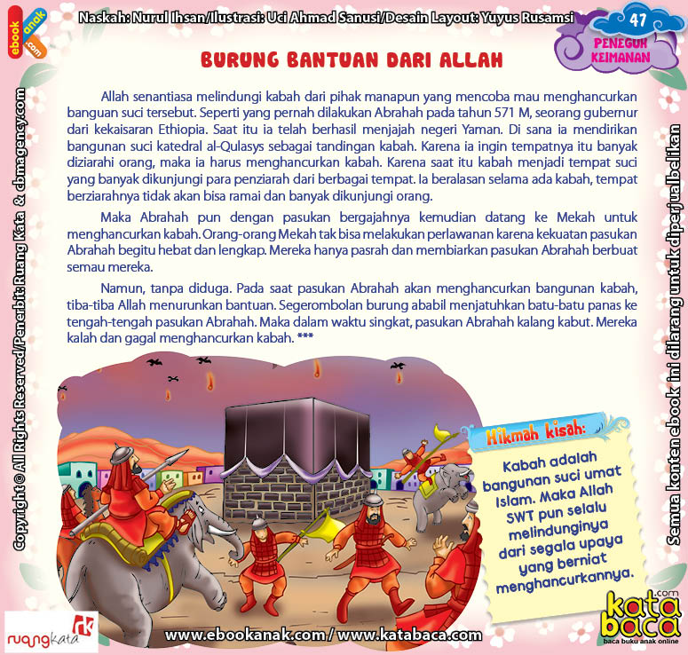 Download Ebook Juz Amma Bergambar 3 Bahasa for Kids, Burung Bantuan dari Allah