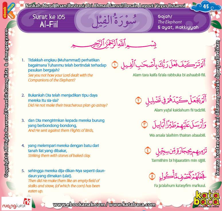 Download Ebook Juz Amma Bergambar 3 Bahasa for Kids, Surat Al Fiil