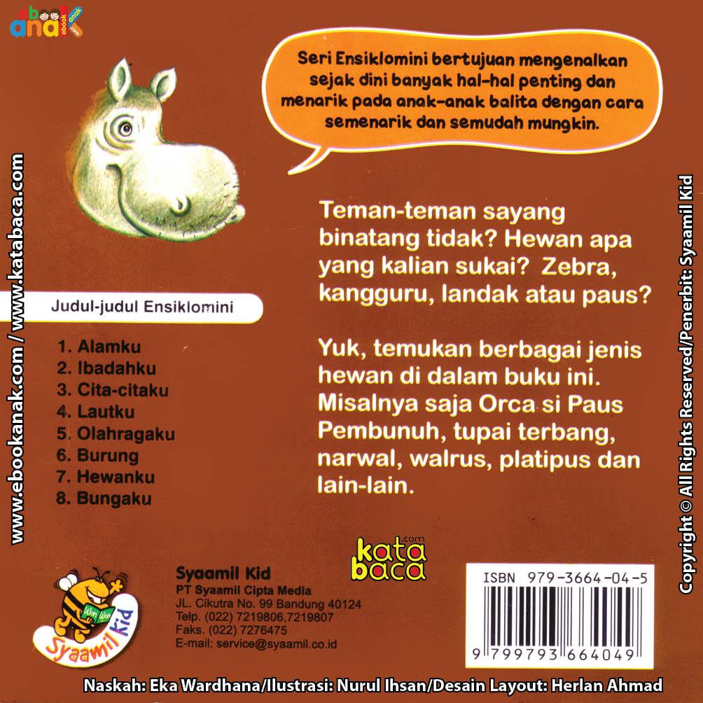 cover belakang download ebook seri ensiklomini hewanku