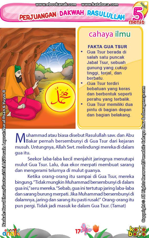 baca buku online 52 kisah Terbaik Nabi Muhammad penuh hikmah teladan19 Bagaimana Cara Laba-Laba dan Burung Merpati Menyelamatkan Rasulullah Saw di Gua Tsur