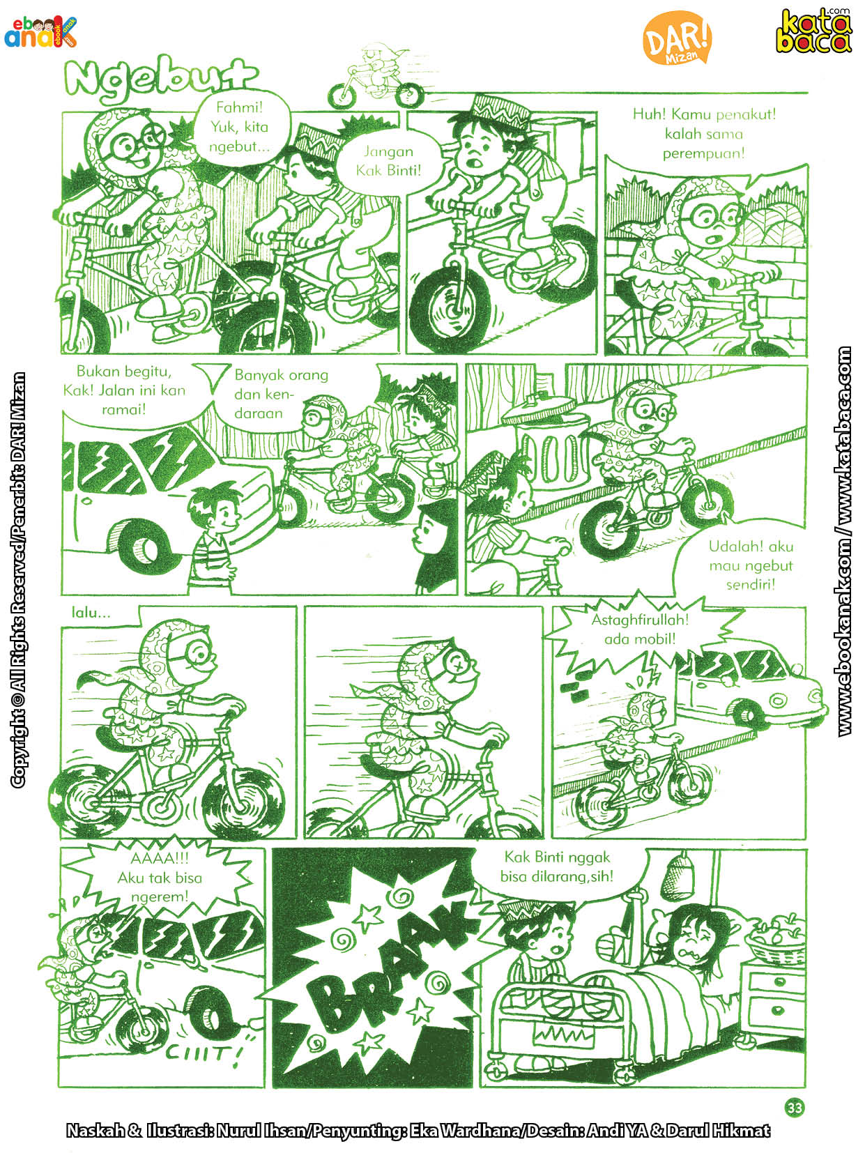baca buku online komik ibadah centil centil cerdas, Binti senang main balapan sepeda di jalan