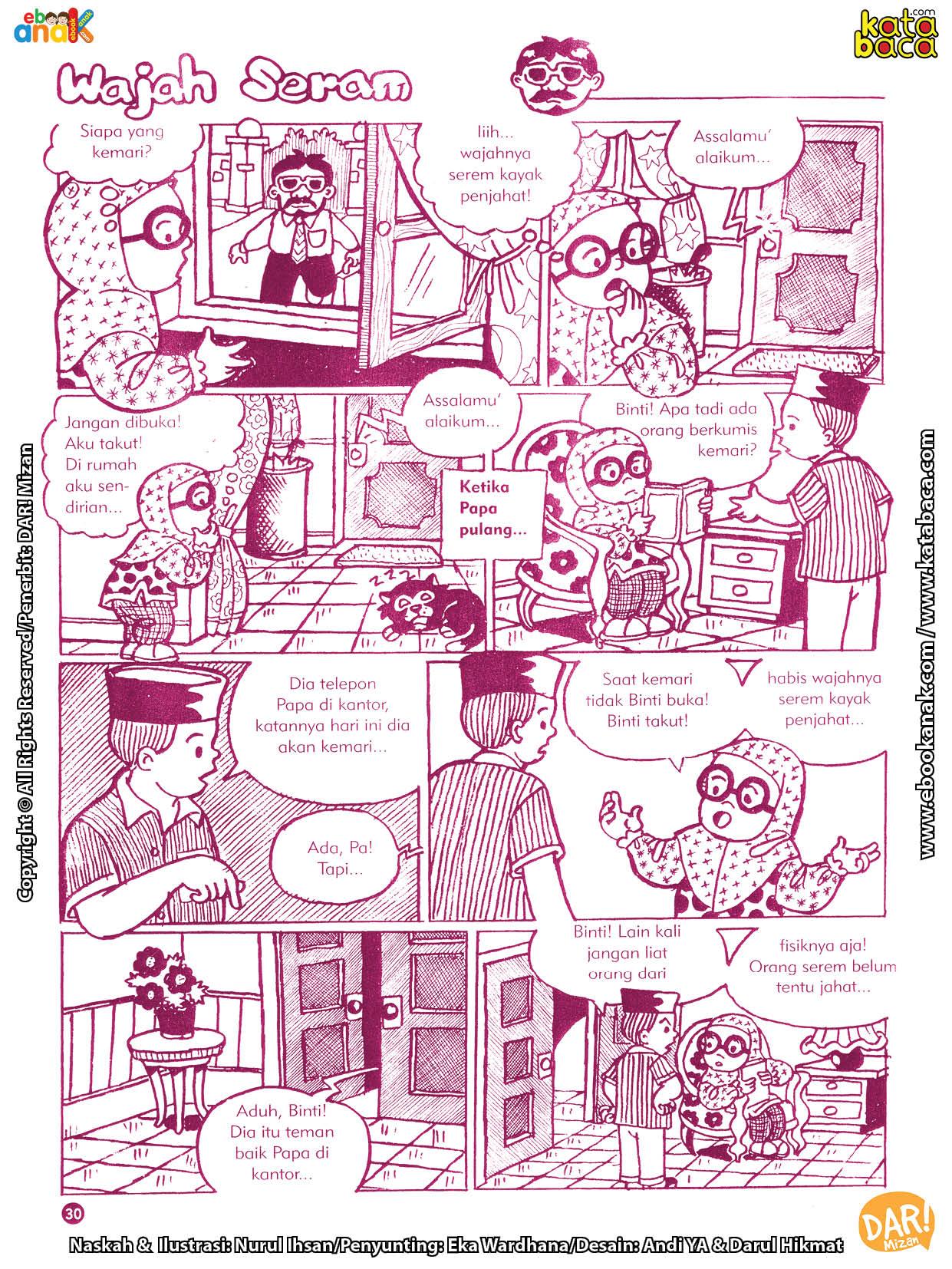 baca buku online komik ibadah centil centil cerdas, siapa orang seram yang bertamu ke rumah binti
