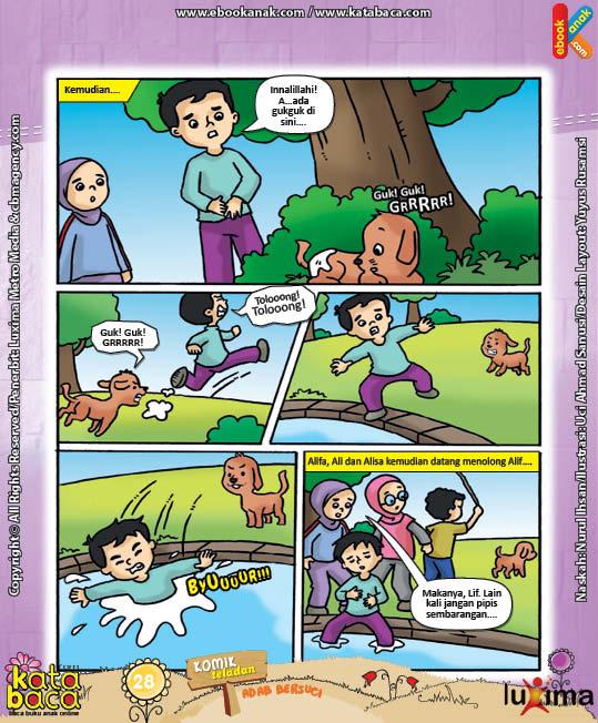 ebook seri komik adab anak muslim adab bersuci, Alif Pipis Sembarang (3)