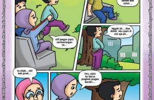 ebook seri komik adab anak muslim adab bersuci, Alif Pipis Sembarangan (2)