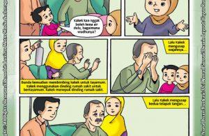ebook seri komik adab anak muslim adab bersuci, Kakek Sakit Dirawat di Rumah Sakit (3)