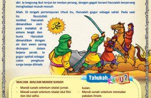 ebook seri komik adab anak muslim adab bersuci, Kisah Teladan Hanzalah Dimandikan Para Malaikat di Antara Langit dan Bumi