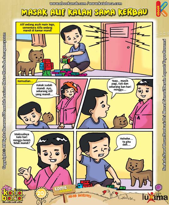ebook seri komik adab anak muslim adab bersuci, Masak Alif Kalah Sama Kerbau (1)