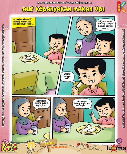 ebook seri komik adab anak muslim adab bersuci, alif kebanyakan makan ubi (1)