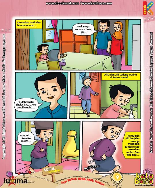ebook seri komik adab anak muslim adab bersuci, alif kebanyakan makan ubi