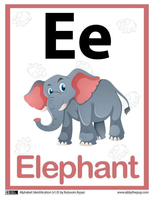 34 Worksheets Pintar Belajar Alfabet Ee Elephant