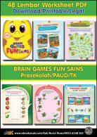 48 lembar worksheet pdf brain games fun sains prasekolah paud tk