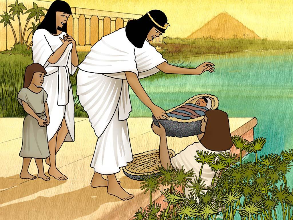 Asiyah Istri Firaun Mengambil Keranjang Bayi Musa dari Sungai Nil