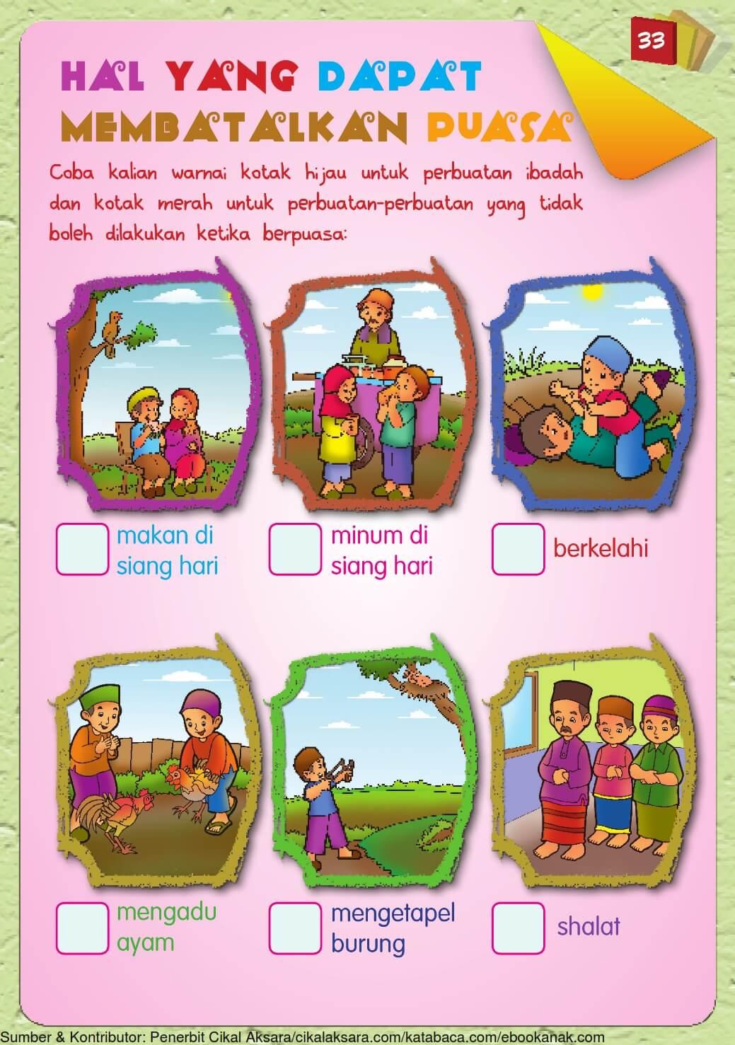 Buku Pintar Aktivitas Anak Shaleh, Hal yang dapat Membatalkan ...