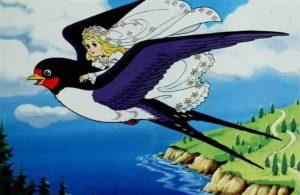 Burung Layang-Layang Membawa Terbang Thumbelina ke Tempat Jauh