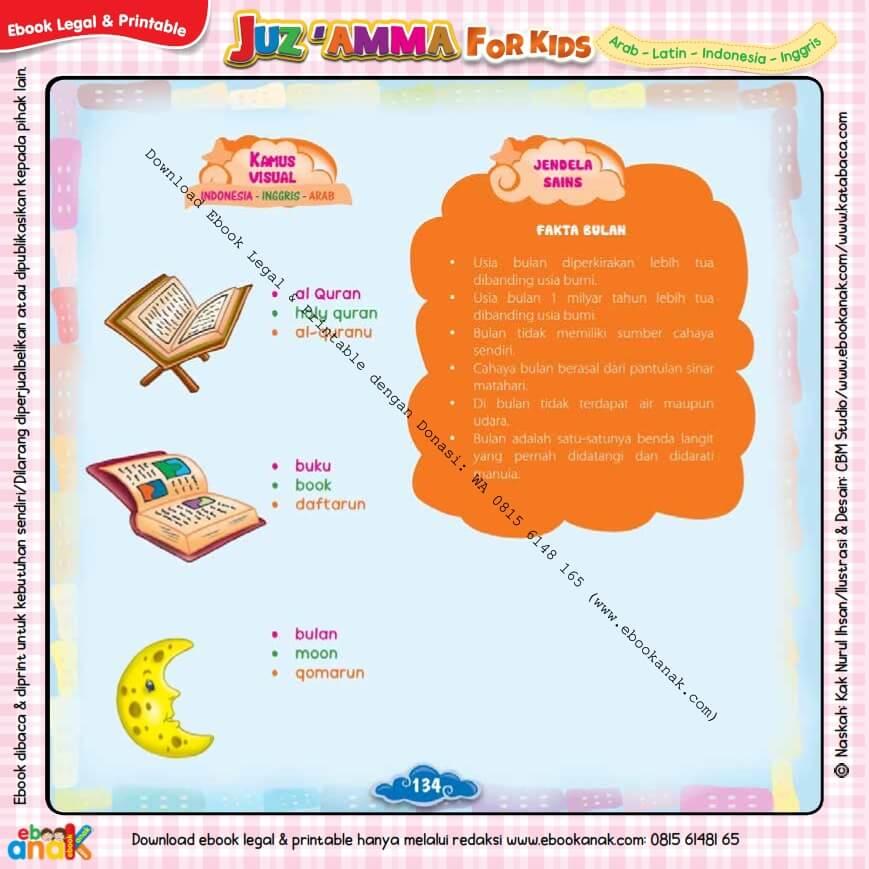 Download Ebook Legal dan Printable Juz Amma for Kids, Fakta Bulan