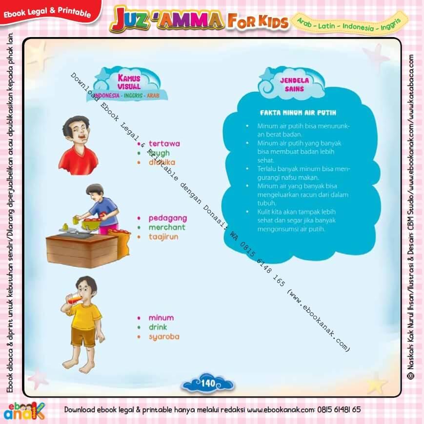 Download Ebook Legal dan Printable Juz Amma for Kids, Fakta Minum Air Putih