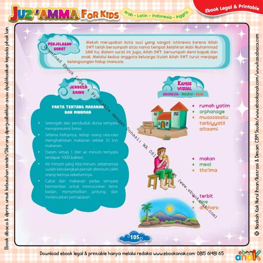 Download Ebook Legal dan Printable Juz Amma for Kids, Fakta Tentang Makanan dan Minuman