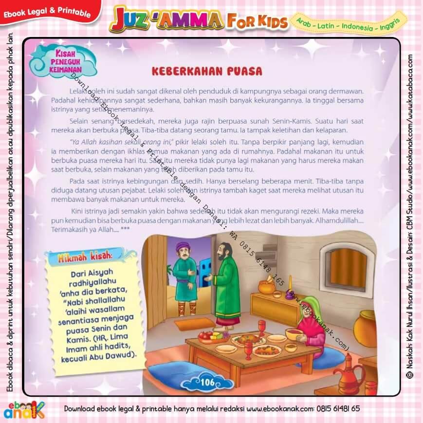 Download Ebook Legal dan Printable Juz Amma for Kids, Keberkahan Puasa