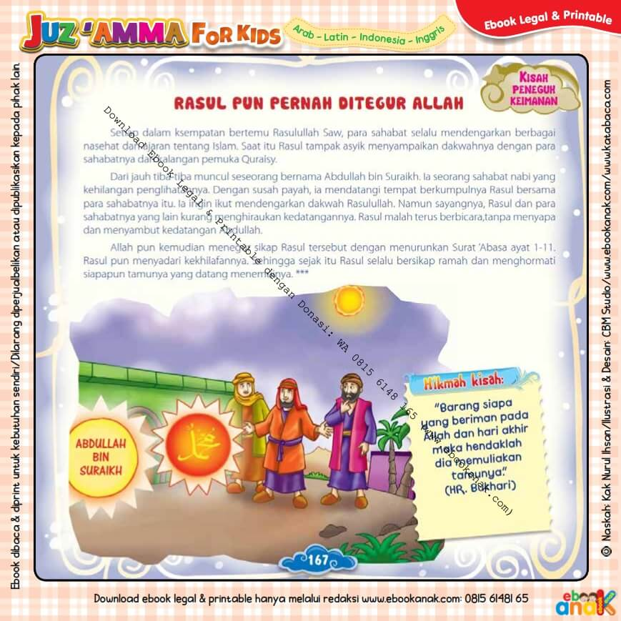 Download Ebook Legal dan Printable Juz Amma for Kids, Rasul pun Pernah Ditegur Allah