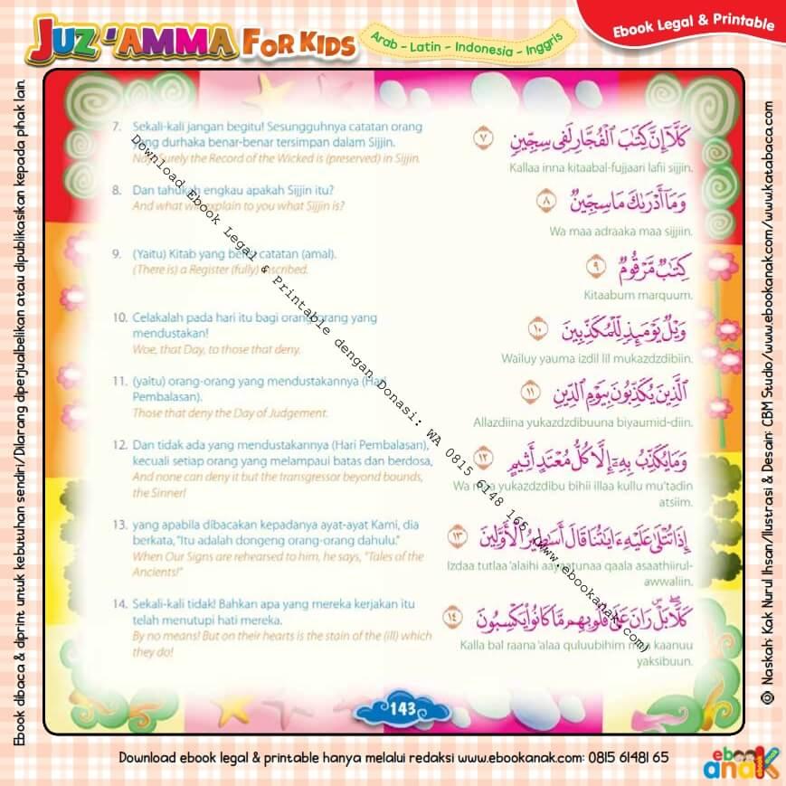 Download Ebook Legal dan Printable Juz Amma for Kids, Surat ke-83 Al Mutaffifin (2)