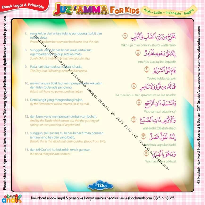 Download Ebook Legal dan Printable Juz Amma for Kids, Surat ke-86 At-Thariq (2)