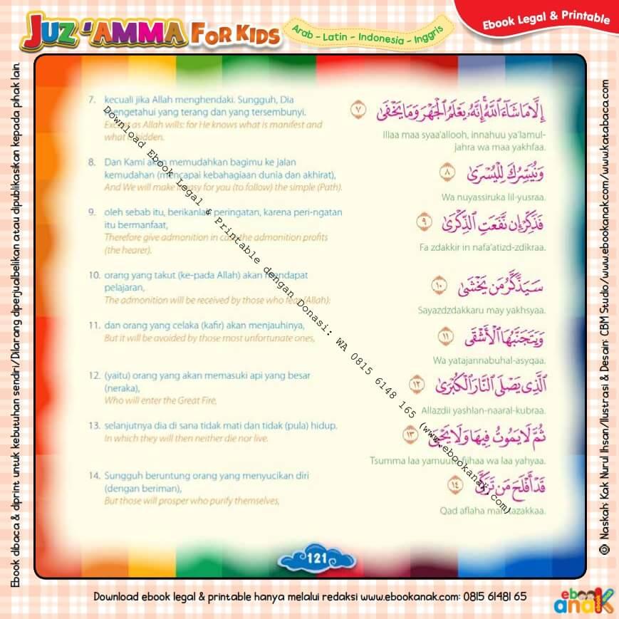 Download Ebook Legal dan Printable Juz Amma for Kids, Surat ke-87 Al-A'la (2)