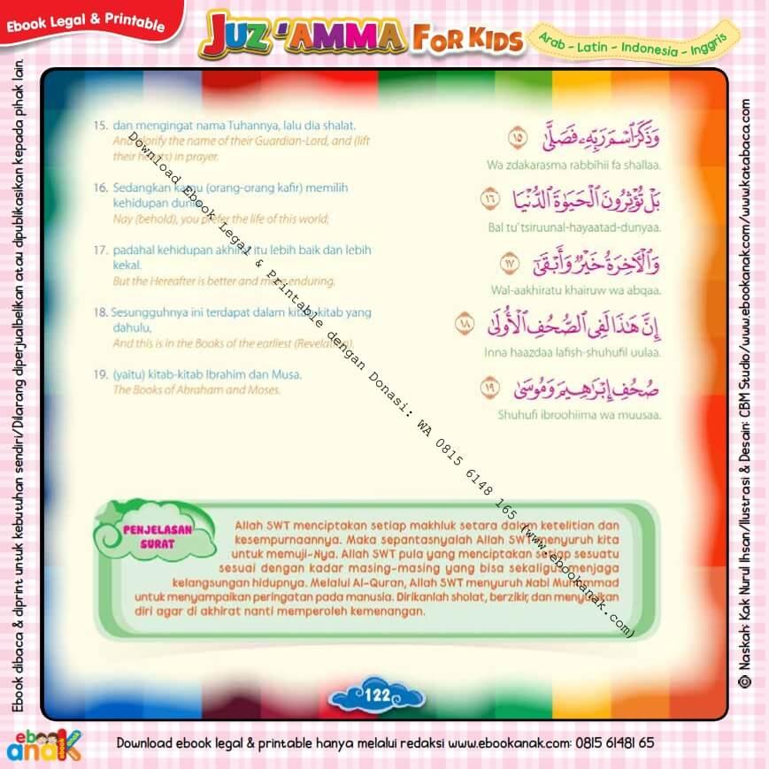 Download Ebook Legal dan Printable Juz Amma for Kids, Surat ke-87 Al-A'la (3)