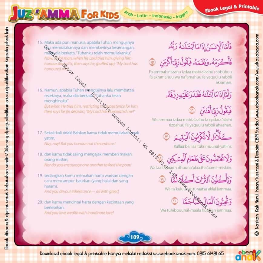 Download Ebook Legal dan Printable Juz Amma for Kids, Surat ke-89 Al-Fajr (3)