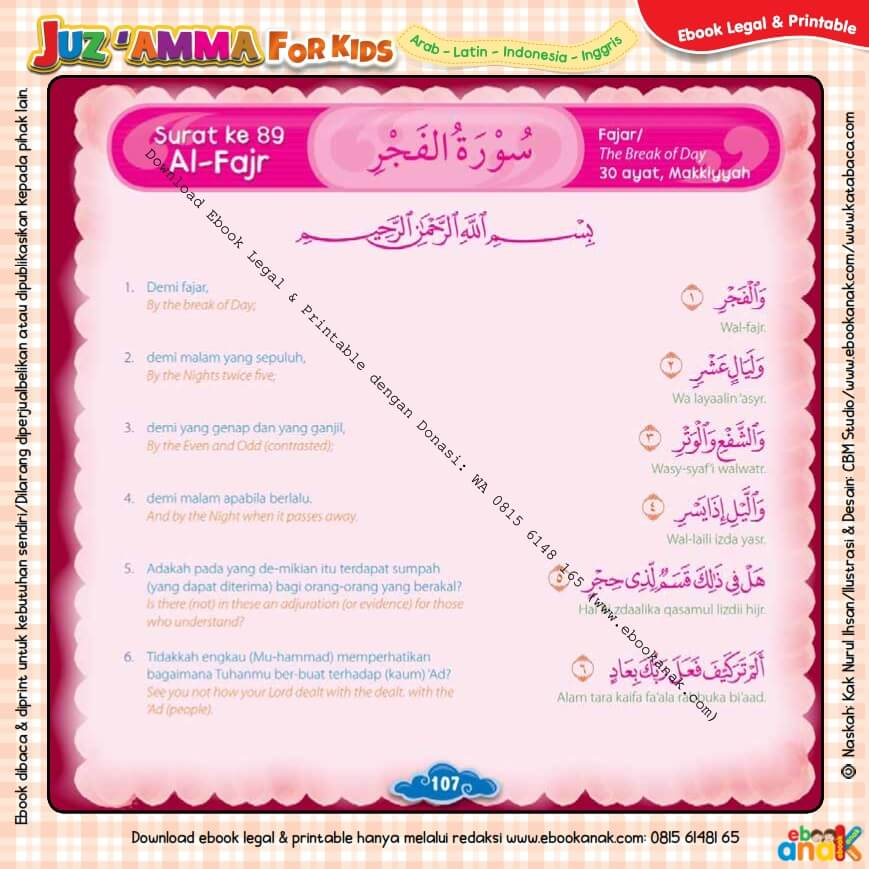 Download Ebook Legal dan Printable Juz Amma for Kids, Surat ke-89 Al-Fajr