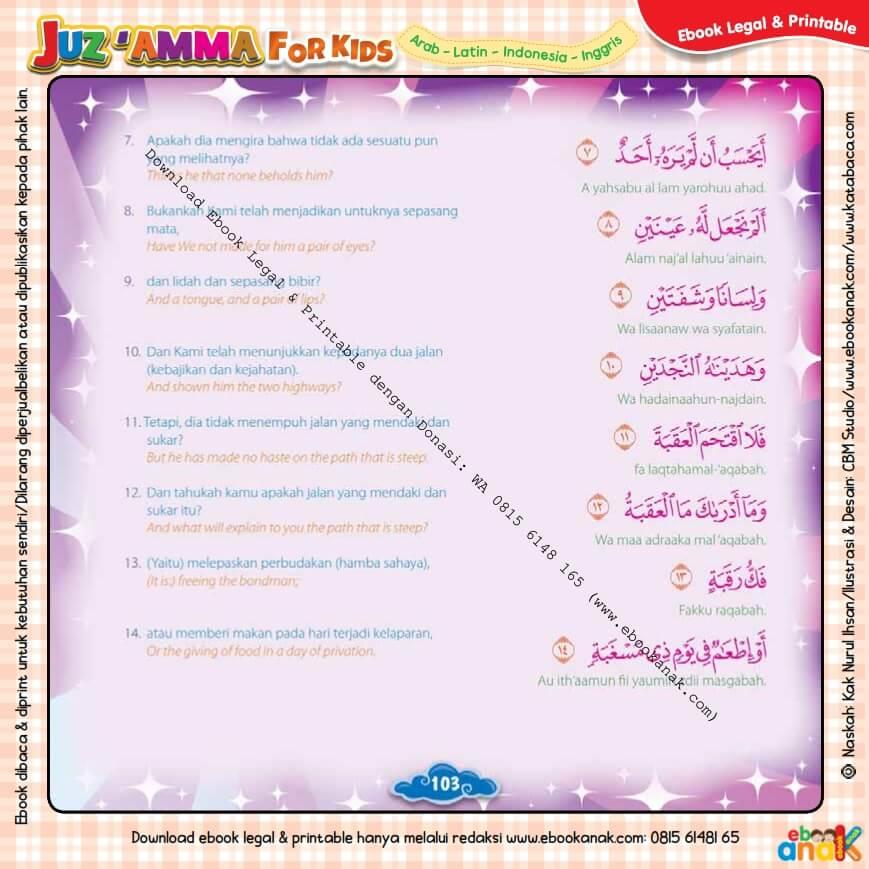 Download Ebook Legal dan Printable Juz Amma for Kids, Surat ke-90 Al-Balad (2)