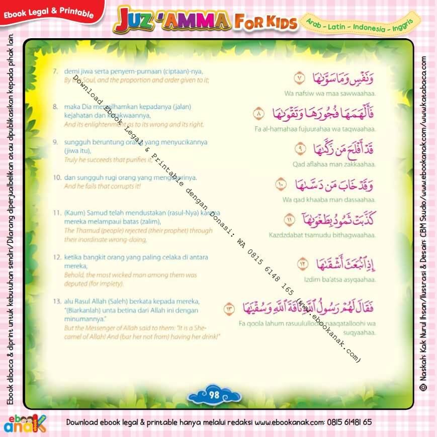 Download Ebook Legal dan Printable Juz Amma for Kids, Surat ke-91 As-Syams (3)