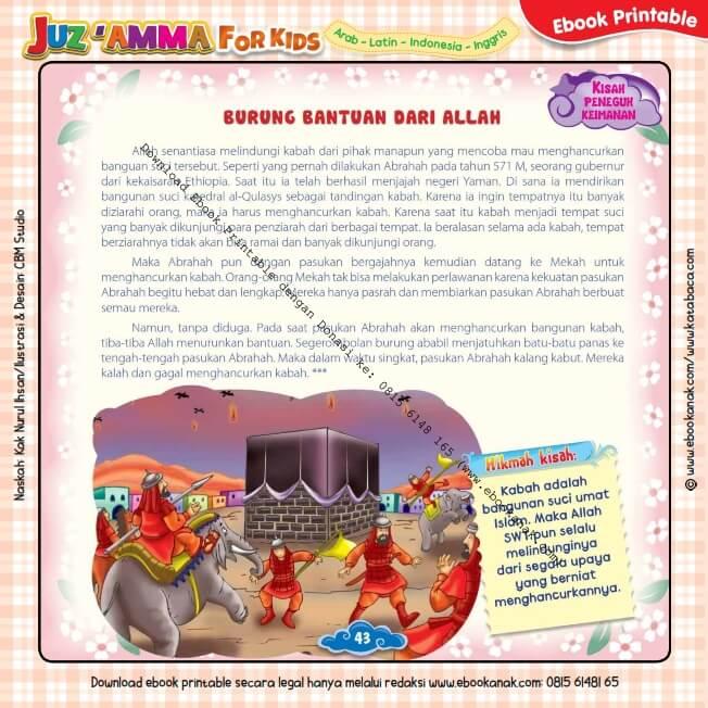 Download Ebook Printable Juz Amma for Kids, Burung Bantuan dari Allah