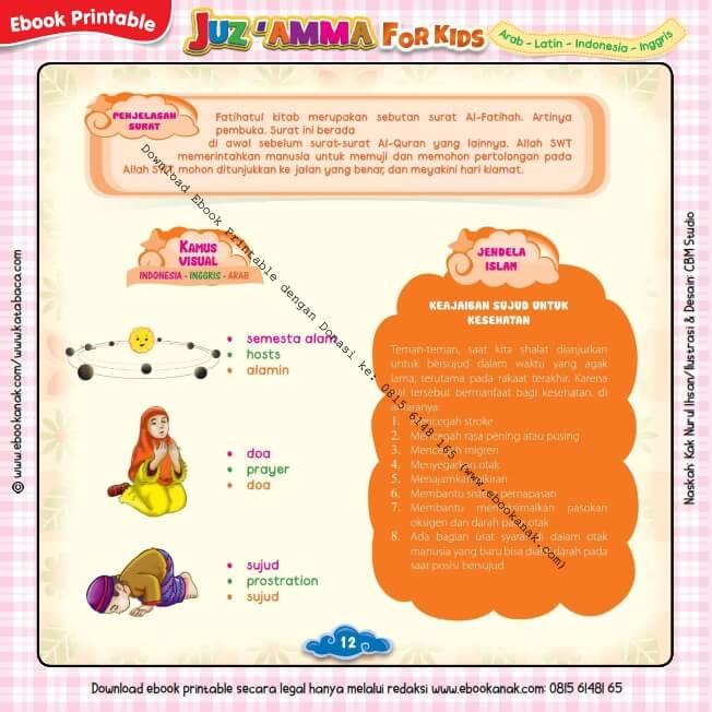 Download Ebook Printable Juz Amma for Kids, Keajaiban Sujud untuk Kesehatan