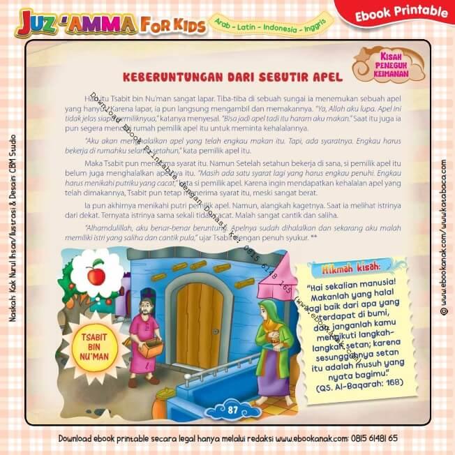 Download Ebook Printable Juz Amma for Kids, Keberuntungan dari Sebutir Apel