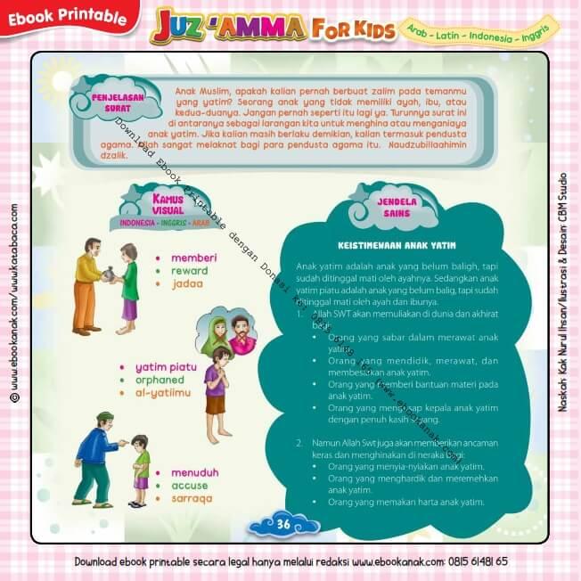 Download Ebook Printable Juz Amma for Kids, Penjelasan Surat Al-Maa'un