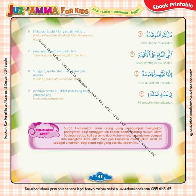 Download Ebook Printable Juz Amma for Kids, Surat ke-104 Al Humajah (2)
