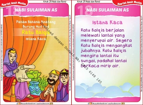 Download Kartu Kuartet Printable Kisah 25 Nabi dan Rasul, Nabi Sulaiman dan Istana Kaca (72)