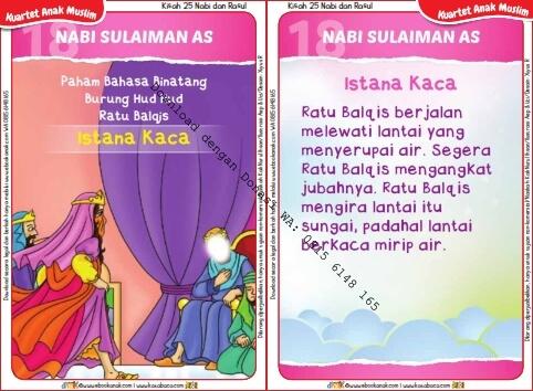 Download Kartu Kuartet Printable Kisah 25 Nabi dan Rasul, Nabi Sulaiman dan Istana Kaca (73)