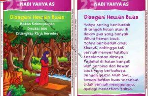 Download Kartu Kuartet Printable Kisah 25 Nabi dan Rasul, Nabi Yahya Disegani Hewan Buas (90)
