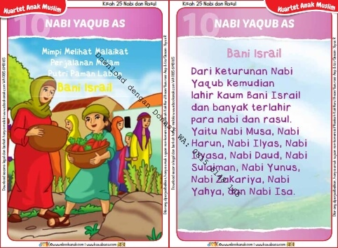 Download Kartu Kuartet Printable Kisah 25 Nabi dan Rasul, Nabi Yaqub dan Bani Israil (41)