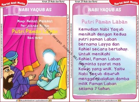 Download Kartu Kuartet Printable Kisah 25 Nabi dan Rasul, Nabi Yaqub dan Putri Paman Laban (40)