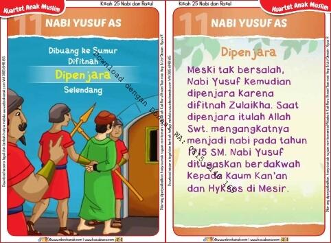 Download Kartu Kuartet Printable Kisah 25 Nabi dan Rasul, Nabi Yusuf Dipenjara (44)